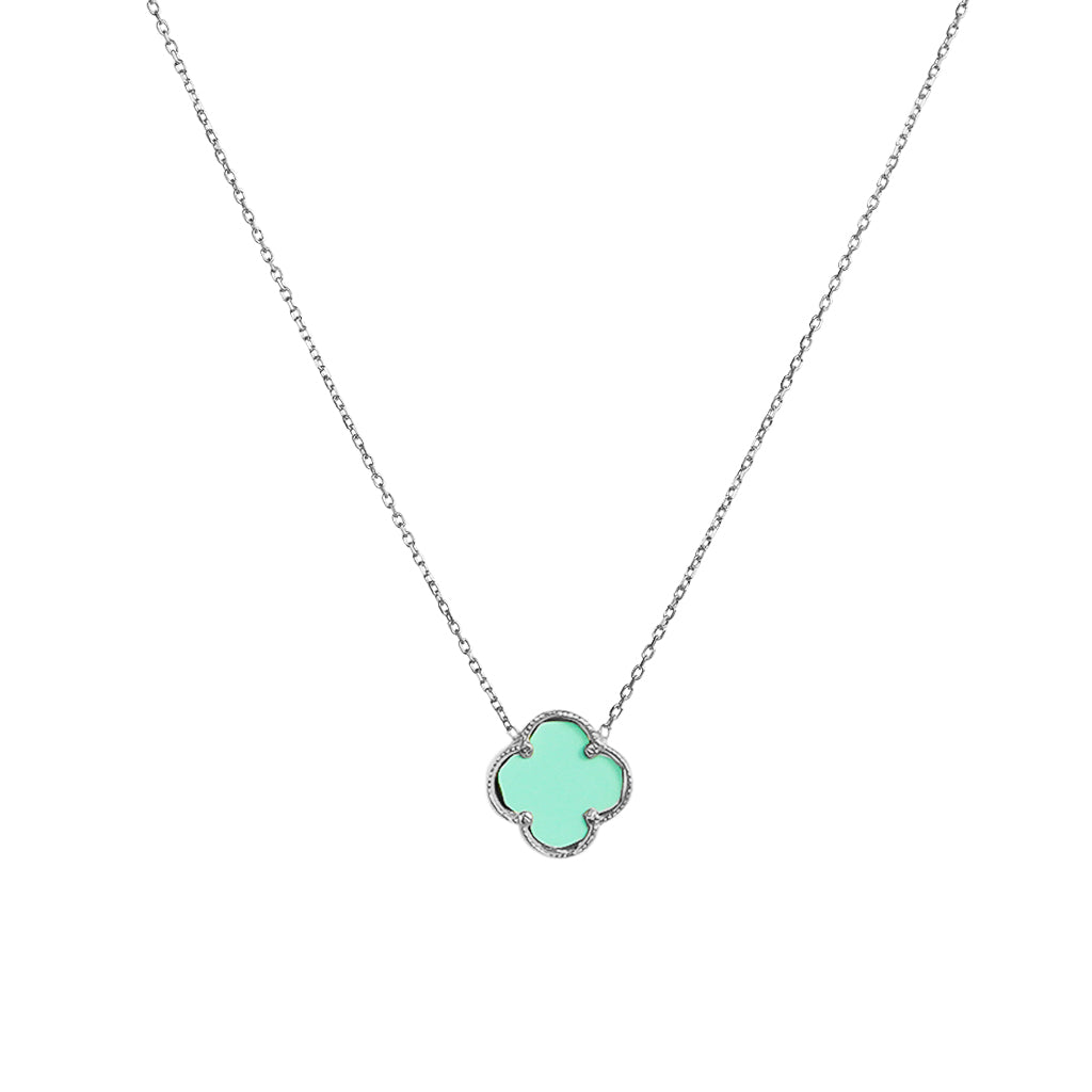 CLOVER STERLING SILVER TURQUOISE PENDANT