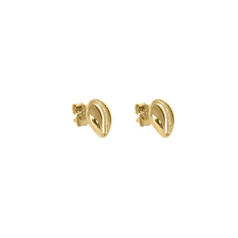 CLYDE SHELL 1-MICRON GOLD STUD EARRINGS