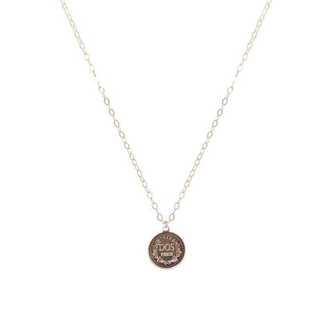 COIN LARGE GOLD FILLED PENDANT-Necklaces-MEZI