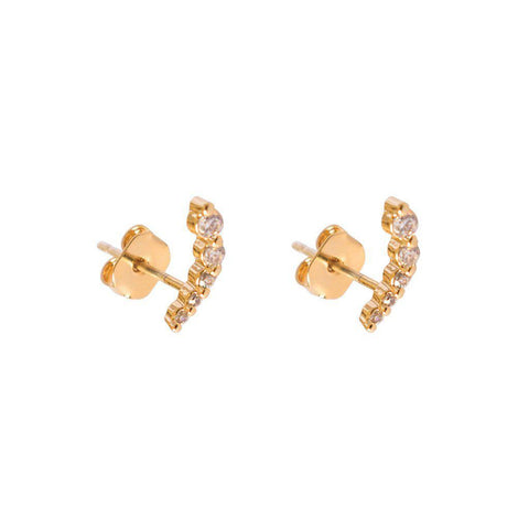COMMA CRYSTAL GOLD STUDS