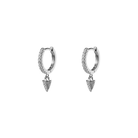 CONE HUGGIE STERLING SILVER CRYSTAL EARRINGS