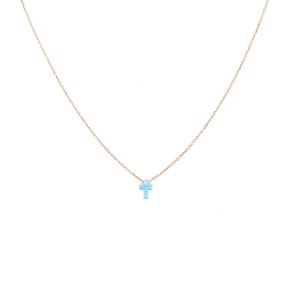 CROSS BLUE OPALITE GOLD NECKLACE
