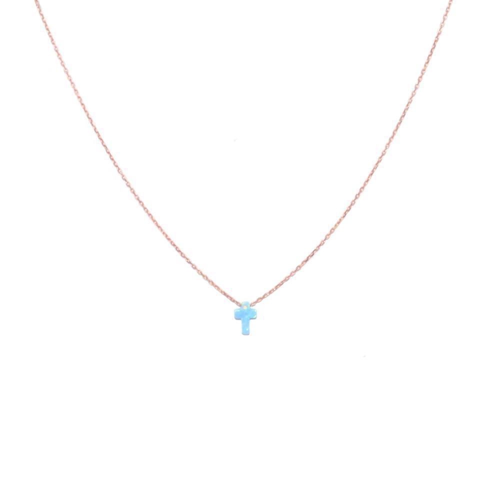 CROSS BLUE OPALITE ROSE GOLD NECKLACE-Necklaces-MEZI