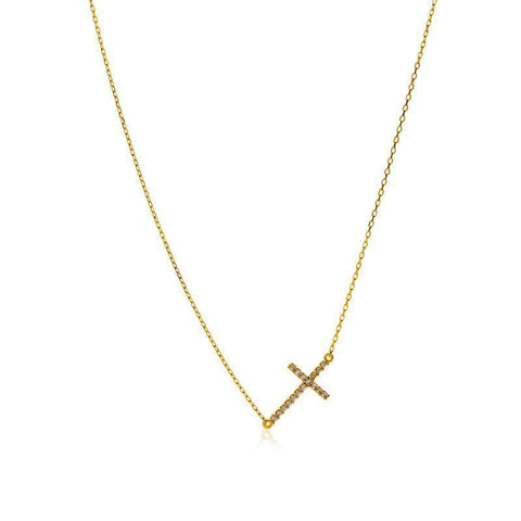 CROSS CRYSTAL GOLD NECKLACE-Necklaces-MEZI