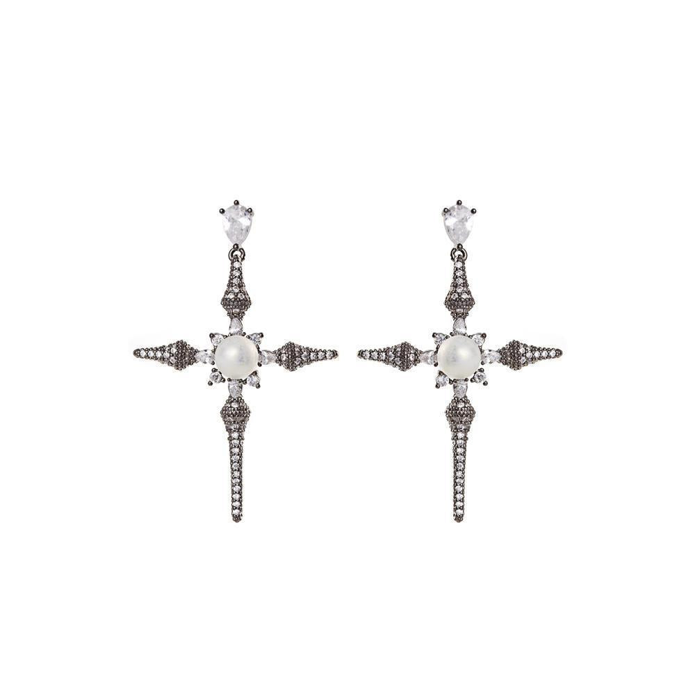 CROSS GUNMETAL & PEARL CRYSTAL DROP EARRINGS-Earrings-MEZI