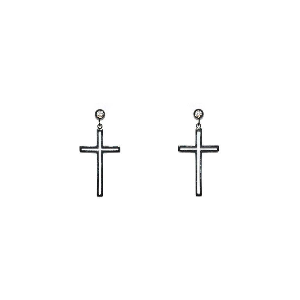CROSS HOLLOW BLACK DROP EARRING-Earrings-MEZI