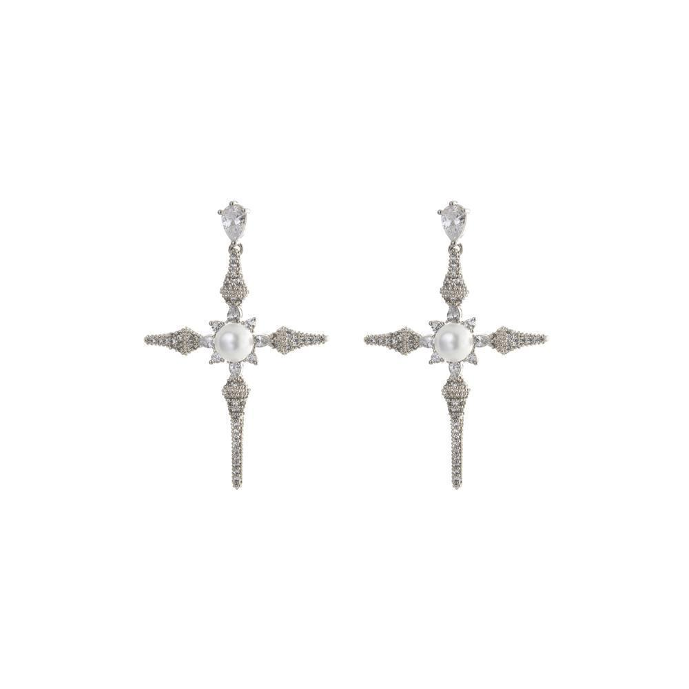 CROSS PEARL & CRYSTAL EARRINGS