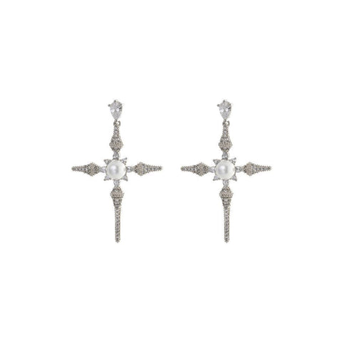CROSS SILVER & PEARL CRYSTAL EARRINGS-Earrings-MEZI