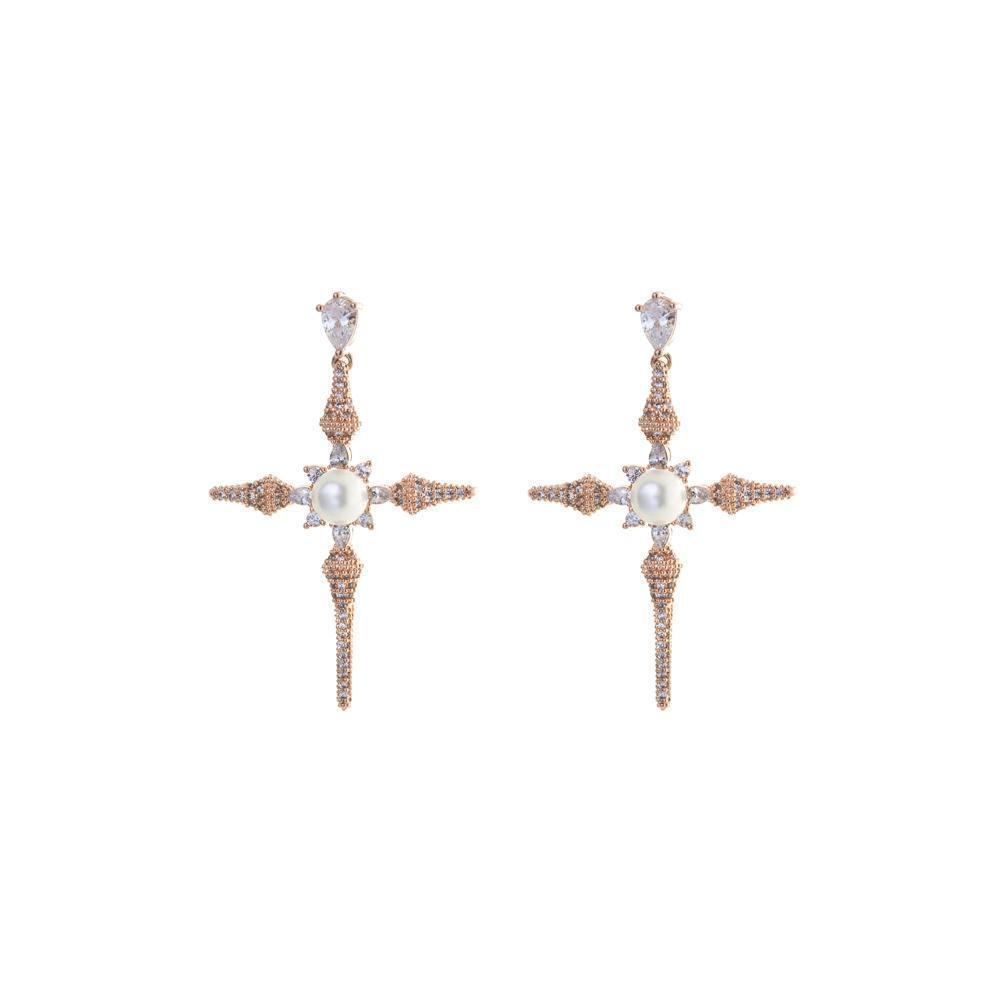 CROSS ROSE GOLD & PEARL CRYSTAL EARRINGS-Earrings-MEZI