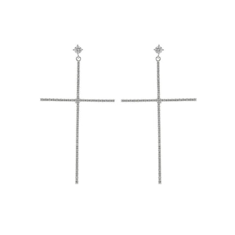 CROSS SILVER CRYSTAL EARRINGS-Earrings-MEZI