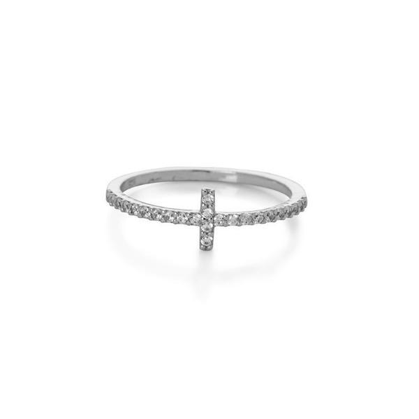 CROSS SILVER CRYSTAL RING
