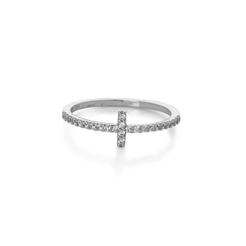 CROSS SILVER CRYSTAL RING-Rings-MEZI