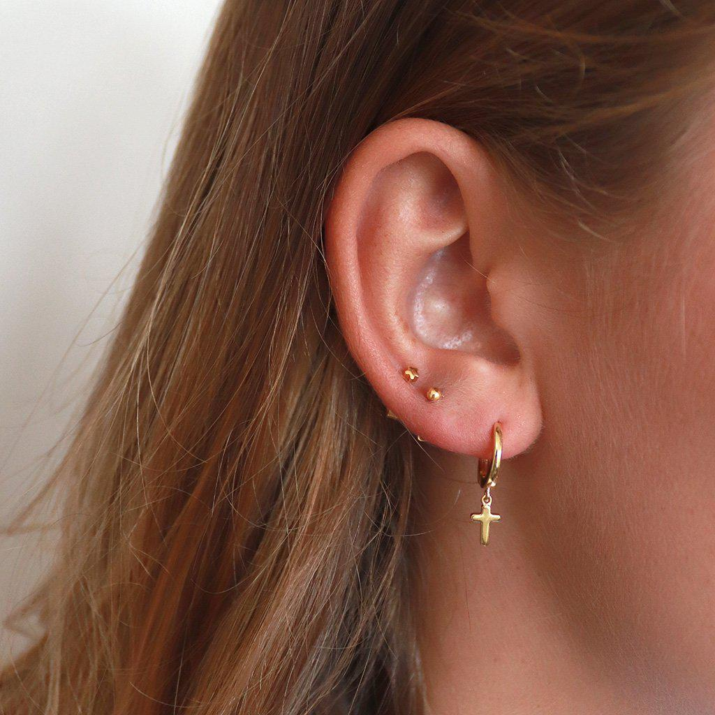 CROSS CHARM GOLD EAR HUGGIES