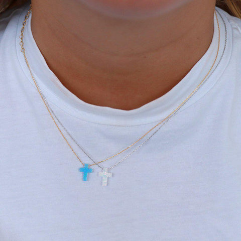 CROSS WHITE OPALITE SILVER NECKLACE
