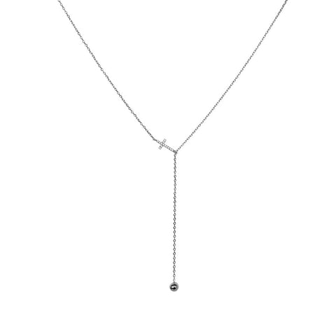 CROSS CRYSTAL STERLING SILVER LARIAT NECKLACE