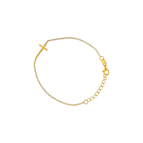 CROSS PLAIN GOLD PLATED BRACELET