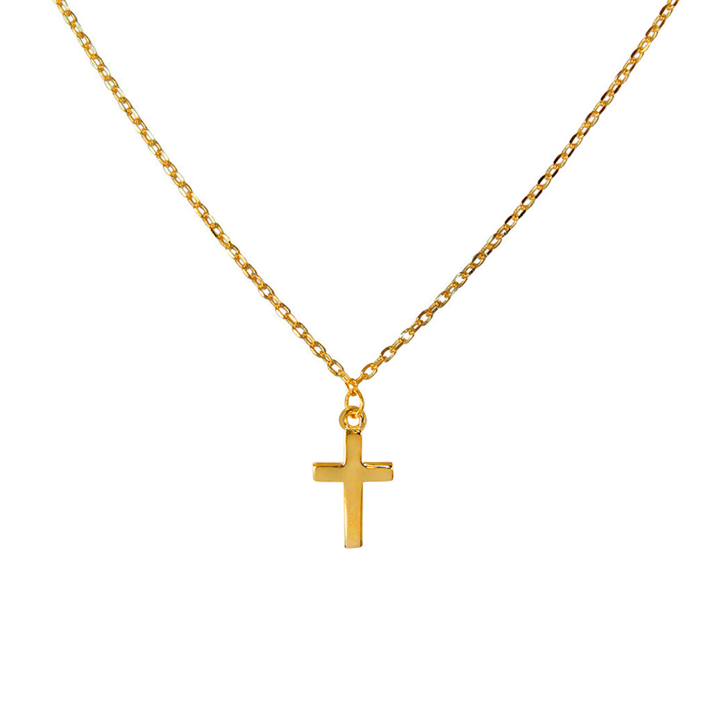 CROSS PLAIN GOLD PLATED NECKLACE