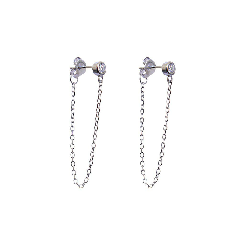 CRYSTAL DROP SILVER THREAD EARRINGS
