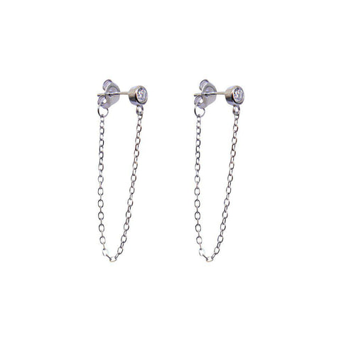 CRYSTAL DROP SILVER EARRINGS