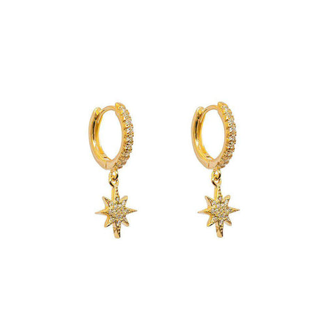 CRYSTAL STAR HUGGIES GOLD EARRINGS