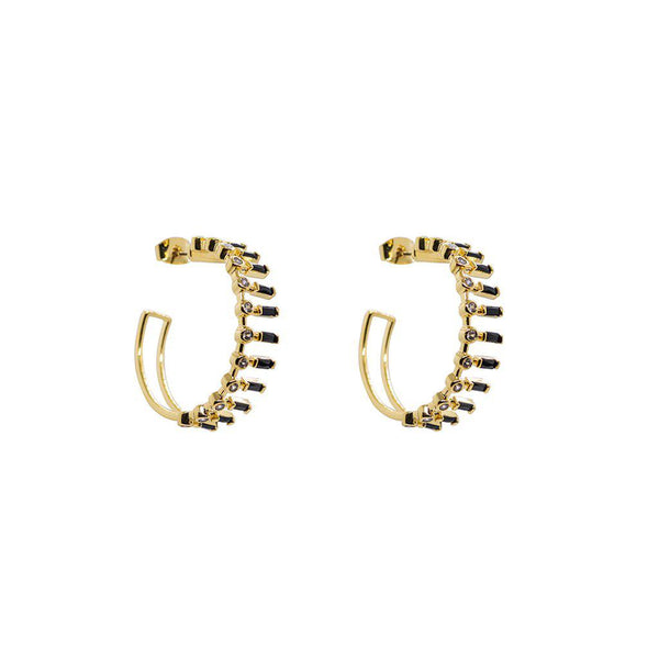 CUBA DOUBLE BLACK CRYSTAL HOOPS