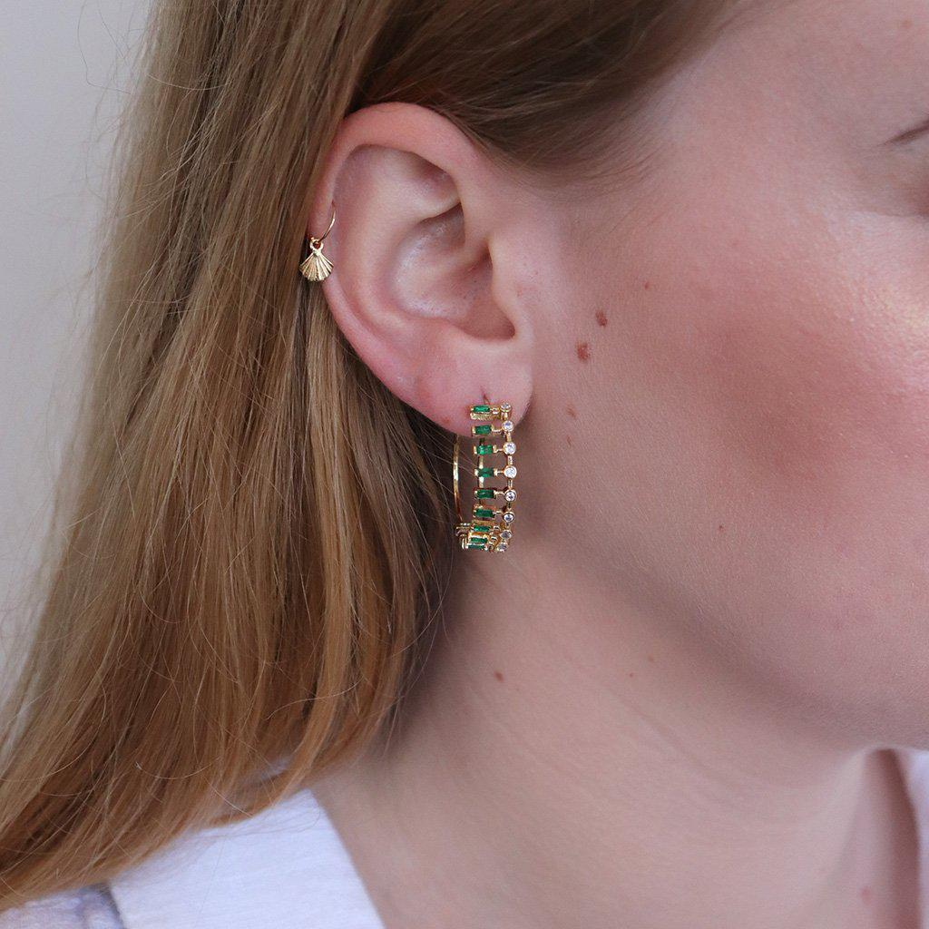 CUBA DOUBLE GREEN CRYSTAL HOOPS