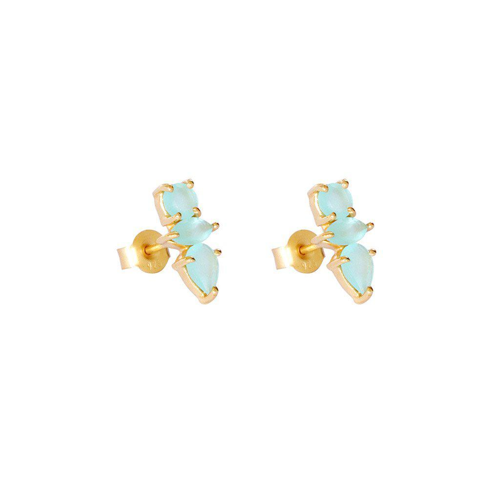 DAKOTA CHALCEDONY GOLD STUD EARRINGS