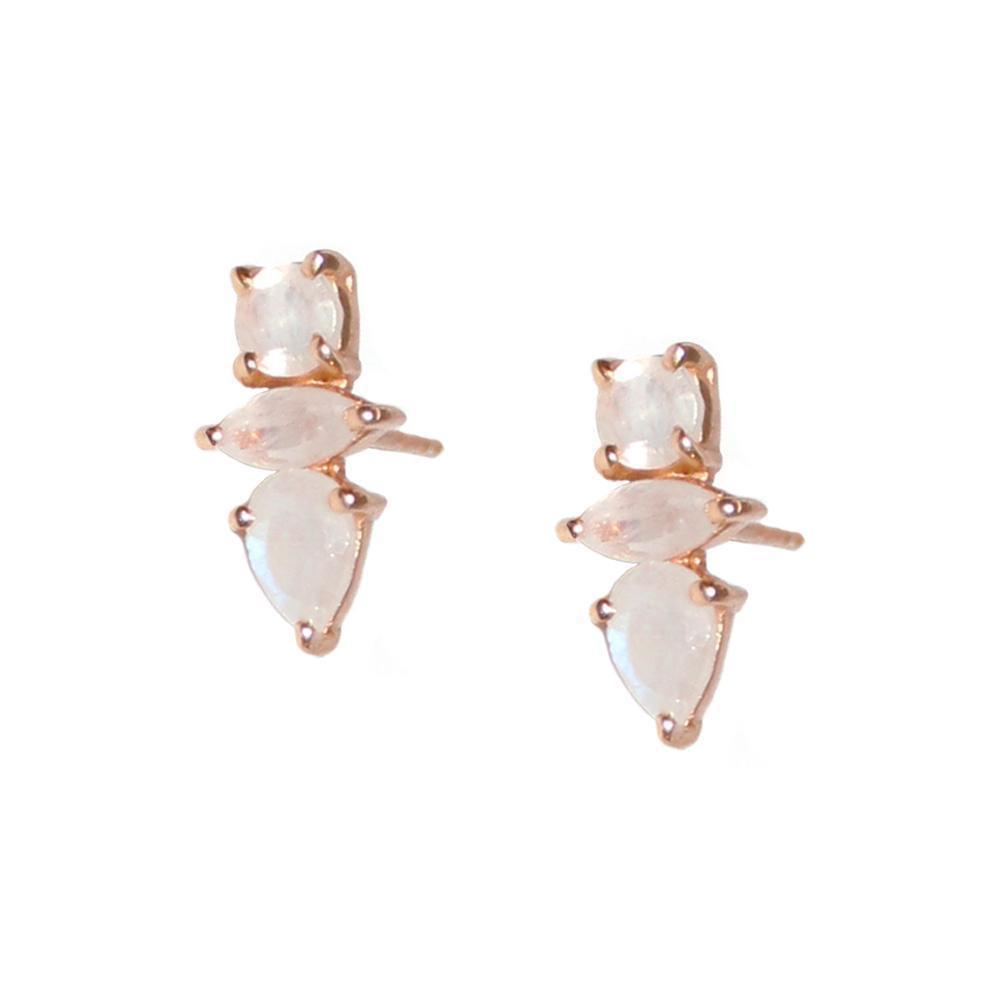 DAKOTA MOONSTONE ROSE GOLD STUD EARRINGS