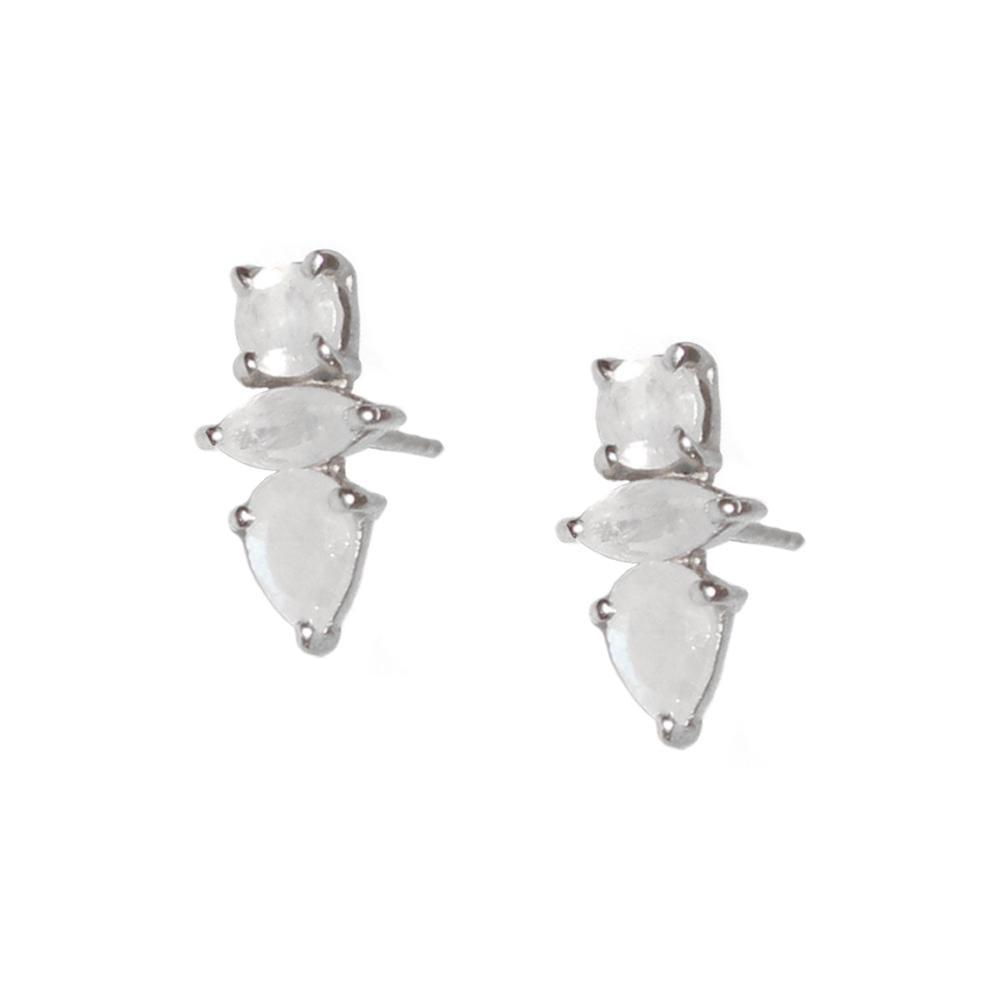 DAKOTA MOONSTONE SILVER STUD EARRINGS