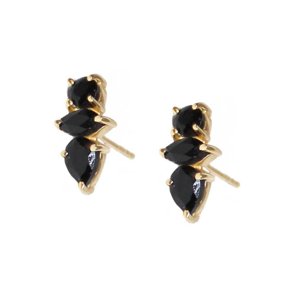 DAKOTA ONYX GOLD STUD EARRINGS