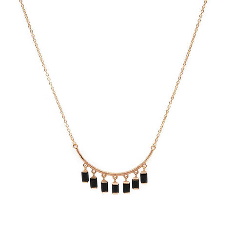 DAKOTA ONYX ROSE GOLD NECKLACE