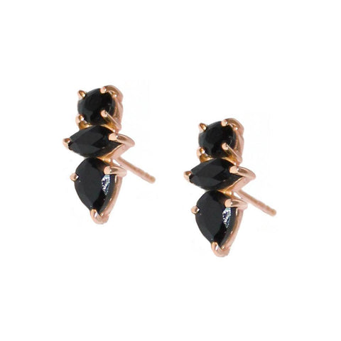 DAKOTA ONYX ROSE GOLD STUD EARRINGS