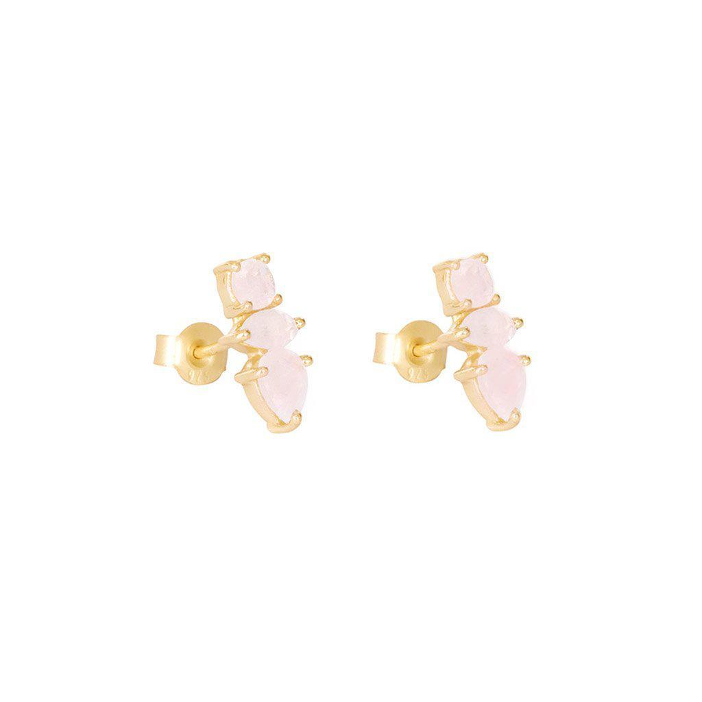 DAKOTA ROSE QUARTZ GOLD STUD EARRINGS