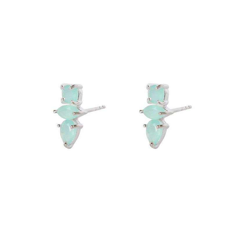 DAKOTA CHALCEDONY STERLING SILVER STUD EARRINGS
