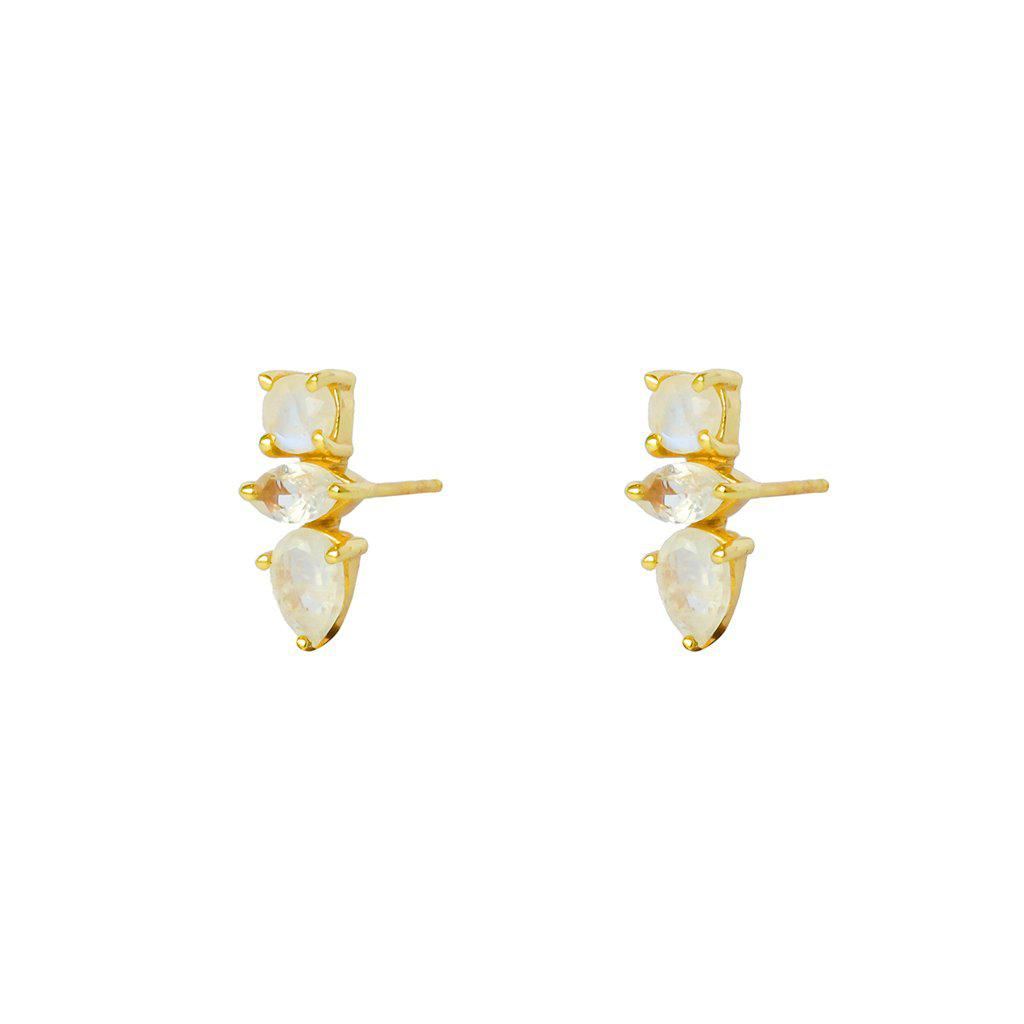 DAKOTA MOON-STONE GOLD STUD EARRINGS