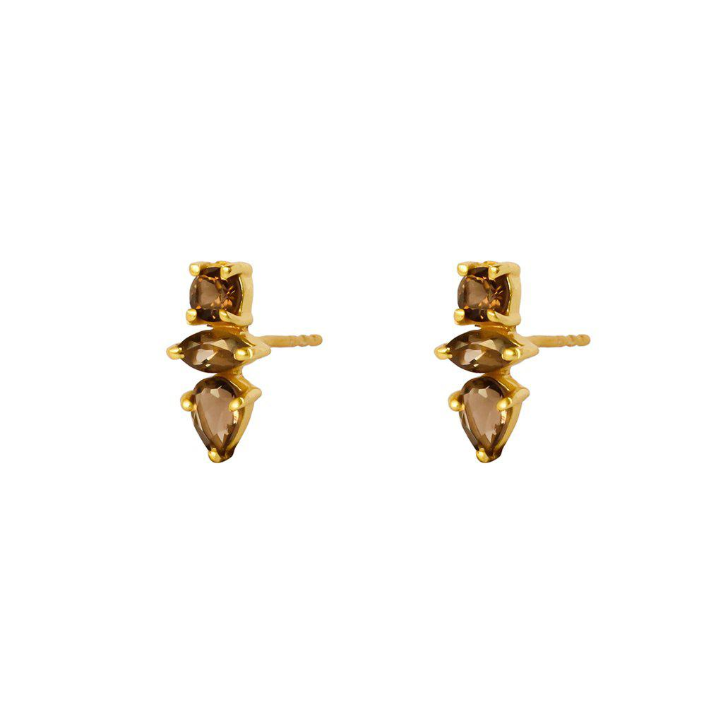 DAKOTA SMOKEY-QUARTZ GOLD STUD EARRINGS