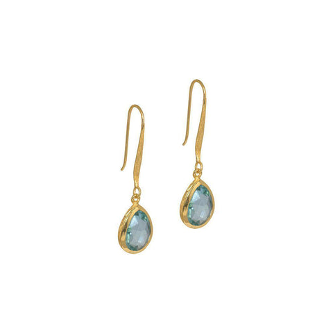DAMIA TEAR DROP BLUE TOPAZ GOLD EARRINGS