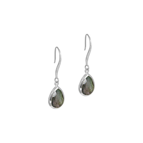 DAMIA TEAR DROP LABRADORITE SILVER EARRINGS