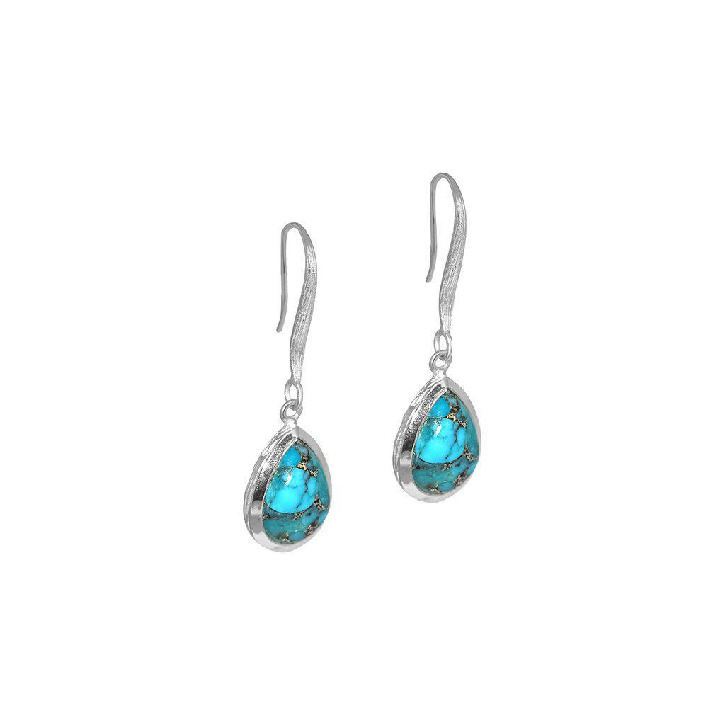 DAMIA TEAR DROP TURQUOISE SILVER EARRINGS