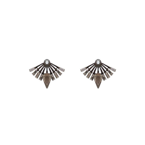 DAVINA GREY CRYSTAL STUD EARRINGS-Earrings-MEZI