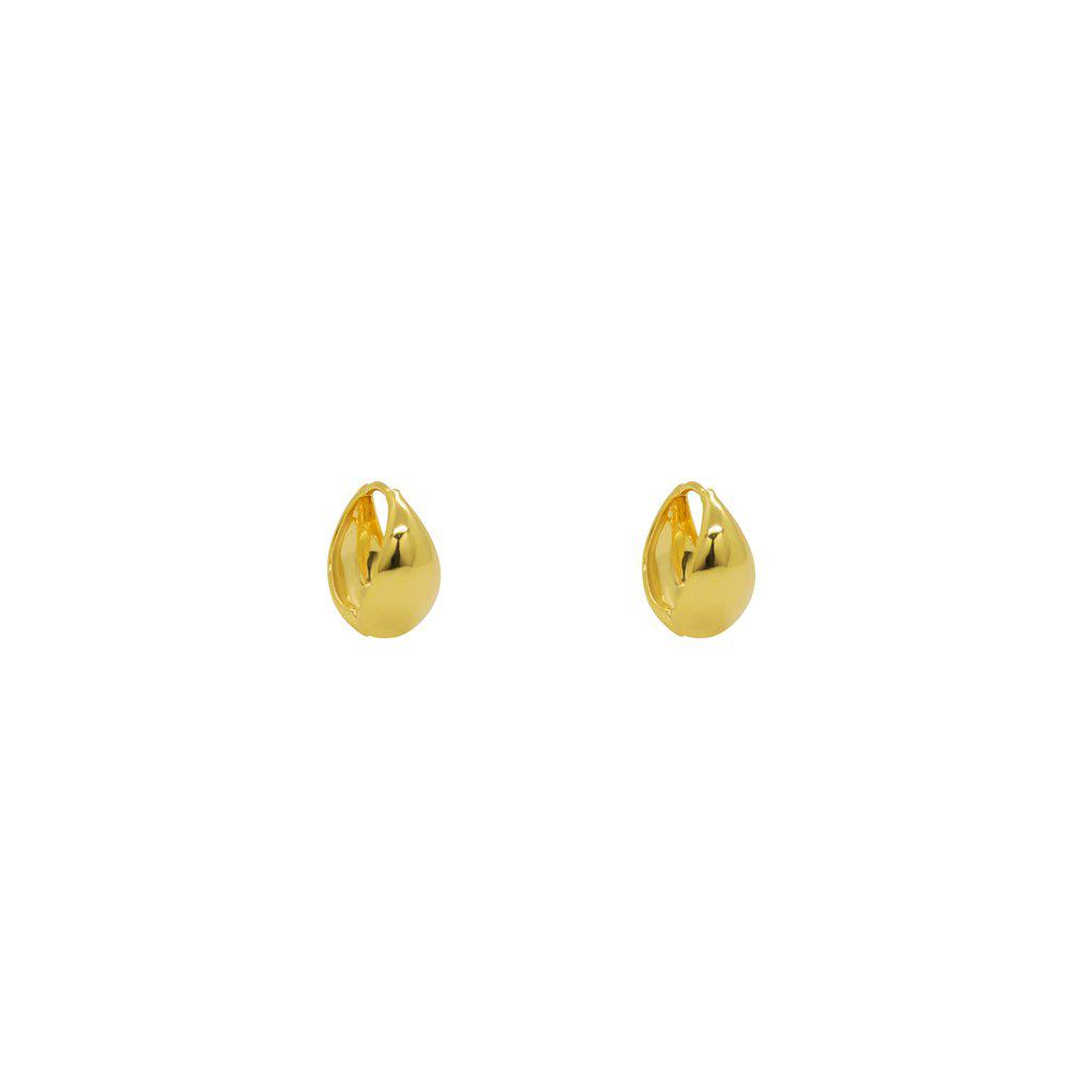 DAVU 2 MICRON GOLD SMALL THICK HOOP EARRINGS