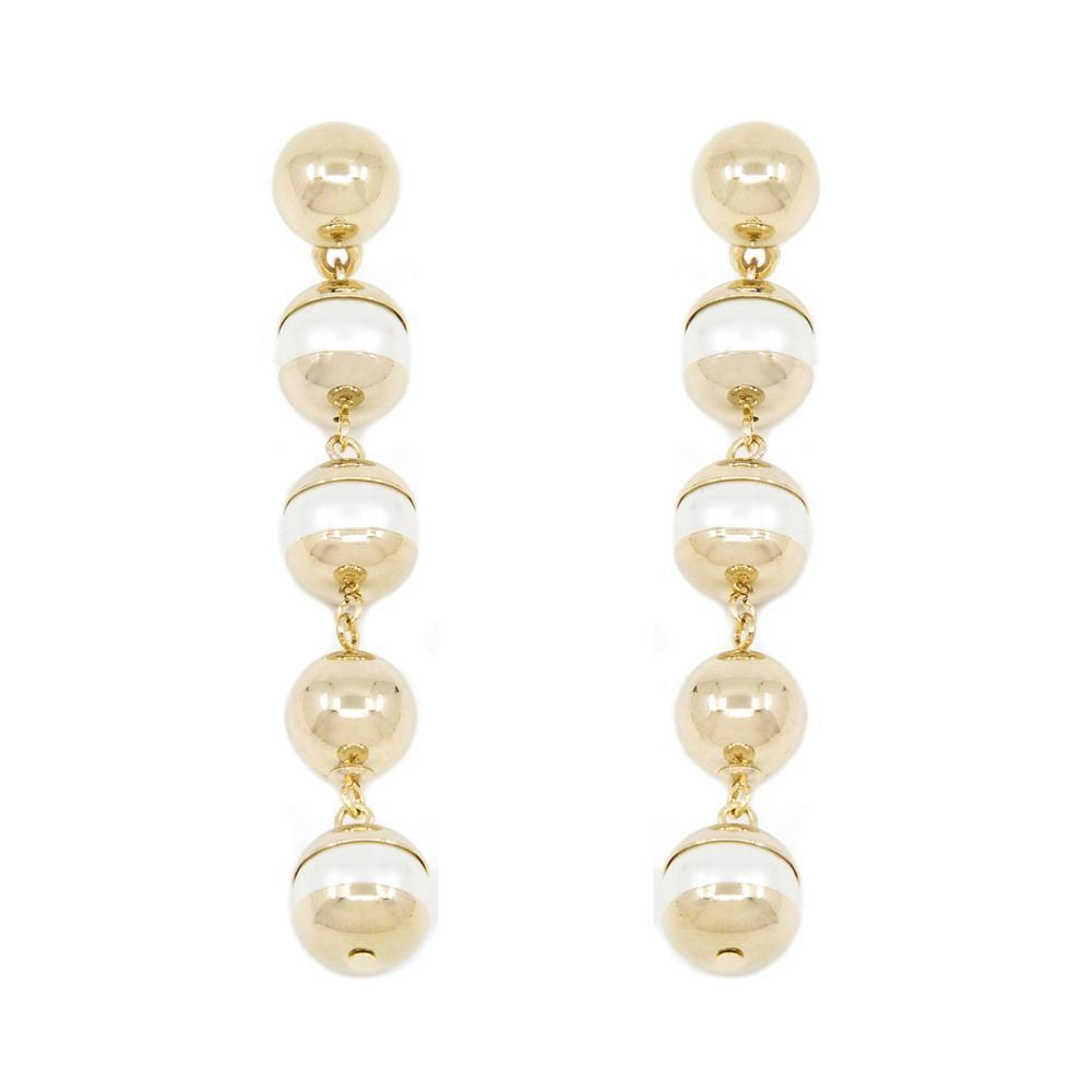 DAYLIN PEARL BALL GOLD DROP EARRINGS