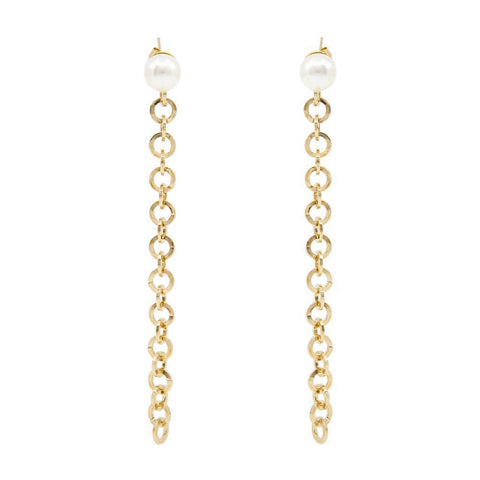 DAYTON PEARL CHAIN GOLD EARRINGS
