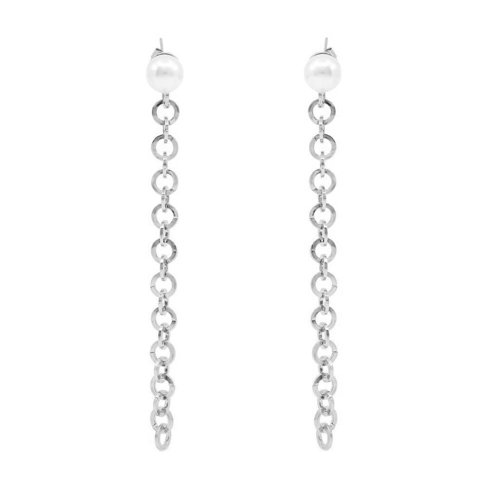 DAYTON PEARL CHAIN SILVER EARRINGS
