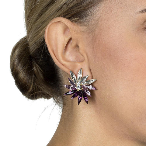 DEDRA PURPLE CRYSTAL STUD EARRINGS-Earrings-MEZI