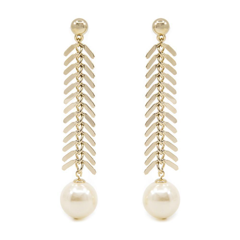 DEKA PEARL GOLD DROP EARRINGS