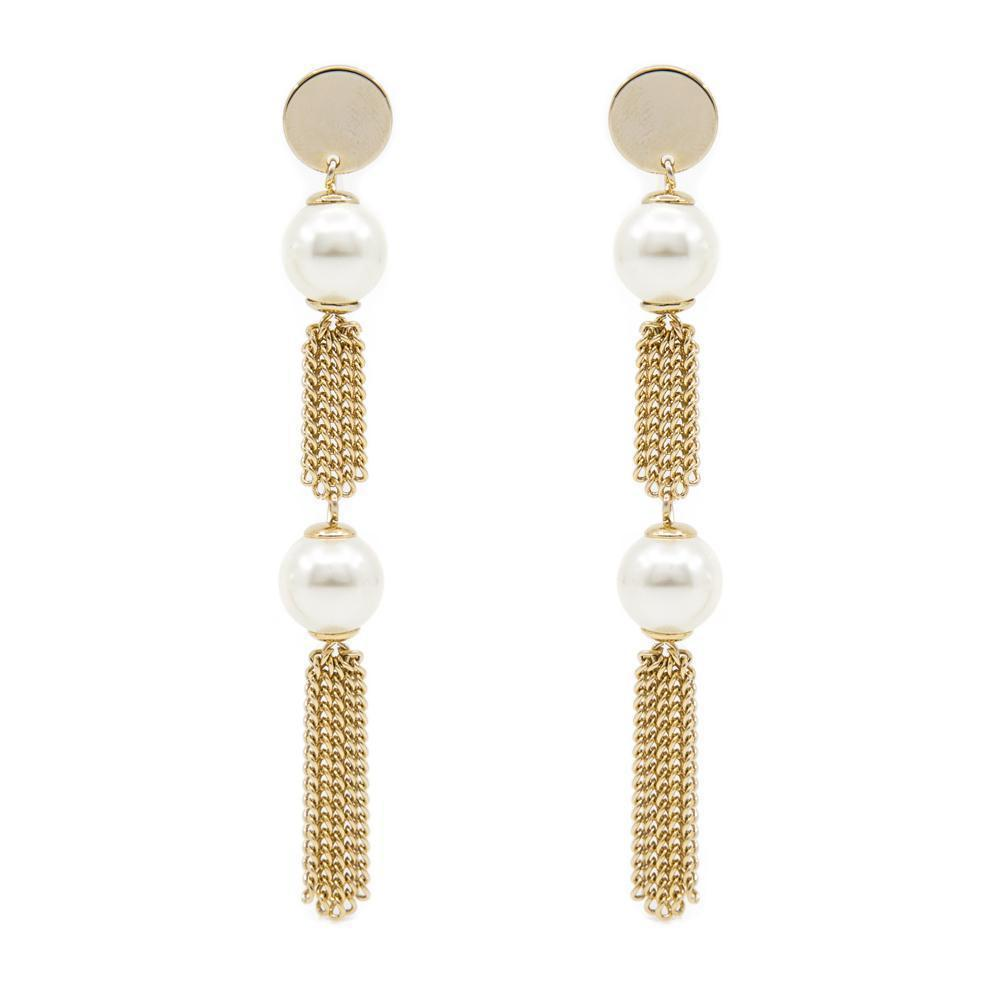DELL PEARL TASSEL GOLD EARRINGS