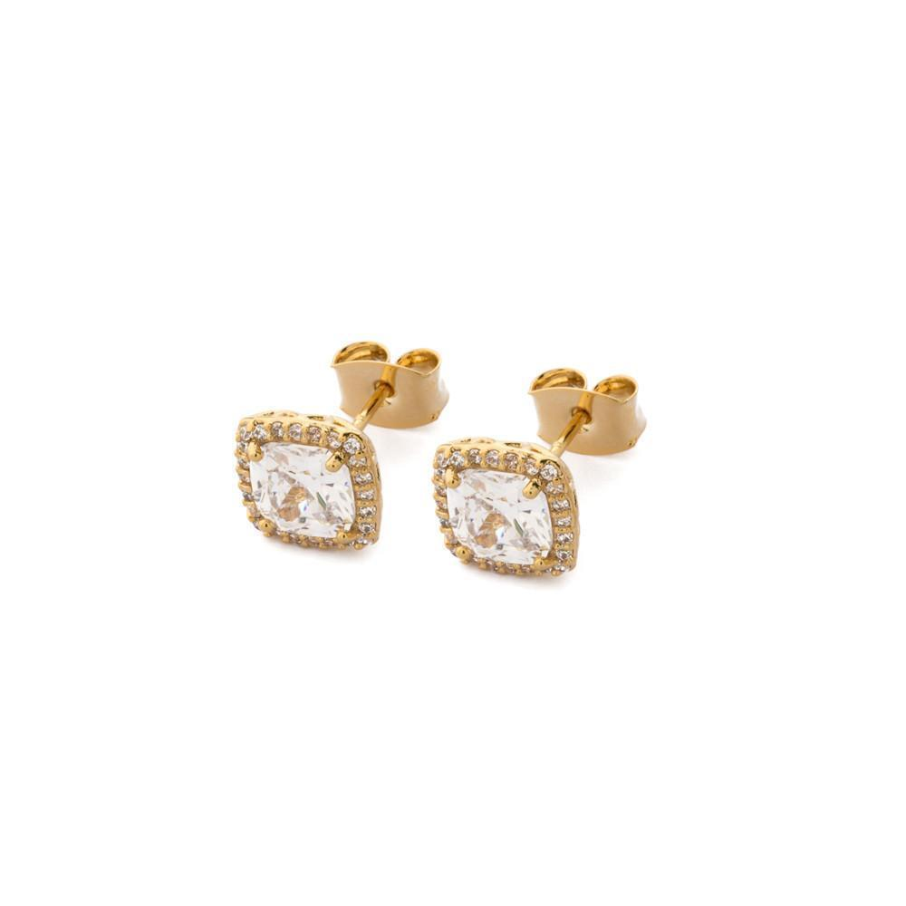 DIANA GOLD CRYSTAL EARRING-Earrings-MEZI