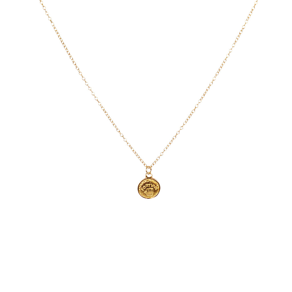 DISC HAMSA GOLD FILLED PENDANT