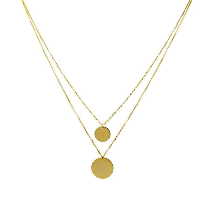 DOUBLE PLAIN DISC GOLD FINE NECKLACE